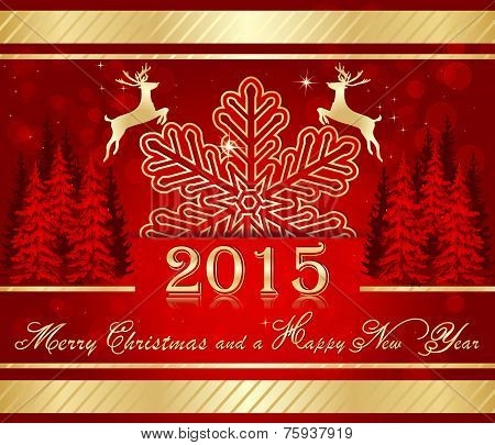 Red golden Christmas background for 2015.