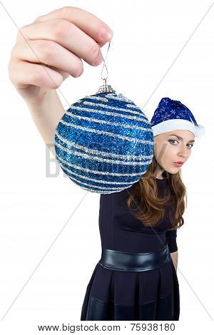 Photo of the woman with christmas ball