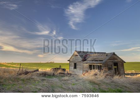 Abandoned Homestead On Prairie