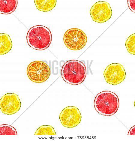Citruses watercolor seamless pattern - oranges, lemons, grapefruits