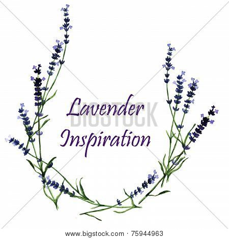 Watercolor decorative elements - wreath with lavender