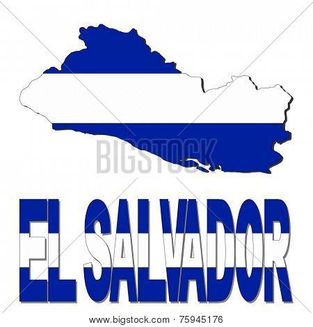 El Salvador map flag and text vector illustration