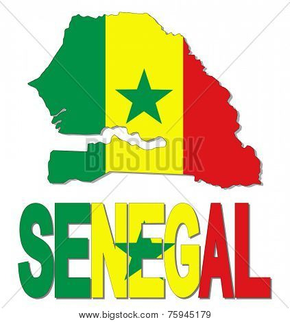 Senegal map flag and text vector illustration