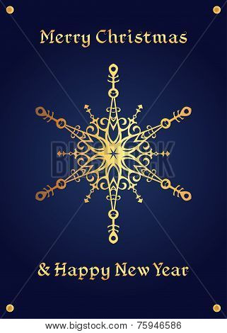 Elegant golden snowflake on a deep blue background, christmas card