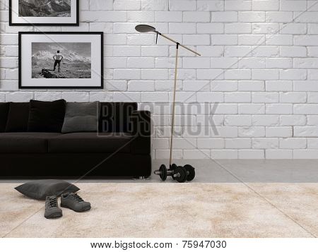 3D Rendering of Modern living room interior with a white painted bare brick wall, comfortable sofa, shoes on the carpet and dumbbells on the floor