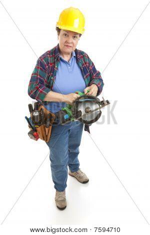 Female Worker Power Saw
