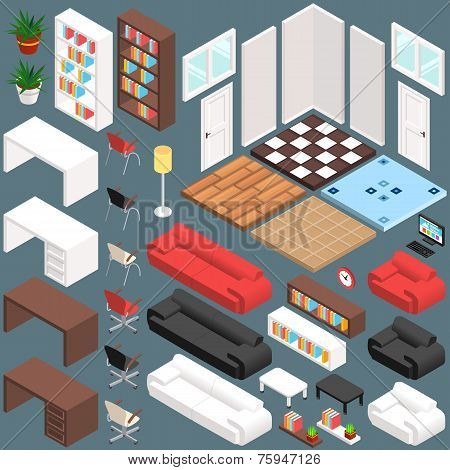 Isometric Office Planning. 3D Vector Creation Kit