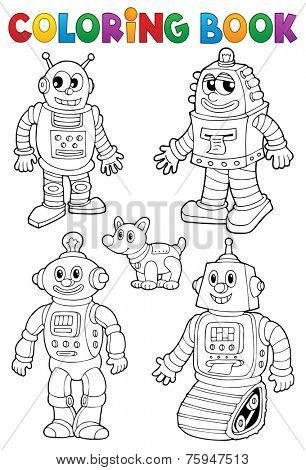 Coloring book with various robots - eps10 vector illustration.
