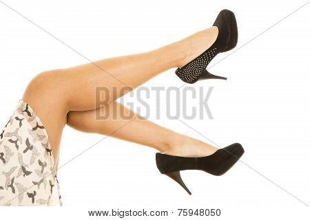 Woman Tan Legs Bird Skirt Heels