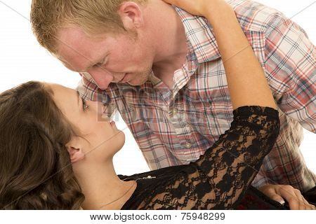 Couple Woman Lay On Back Heads Close Serious