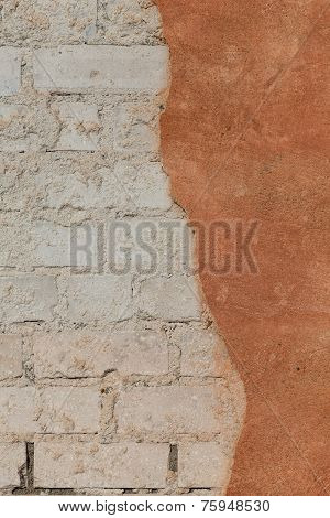 Brick Wall With Cracked Plaster - Texture