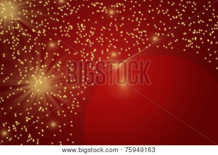 Red Christmas Background Full Of Shining Gold Stars