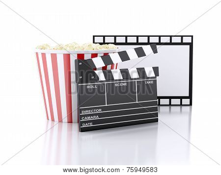 cinema clapper, popcorn and film reel. 3d illustration