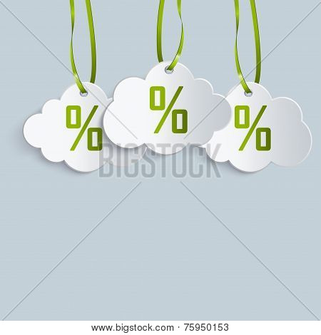 Three Clouds Label With Ribbons