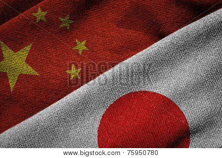 Flags Of China And Japan On Grunge Texture