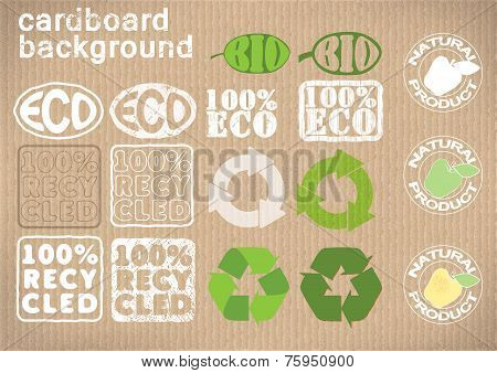 background cardboard with emblems «bio»,