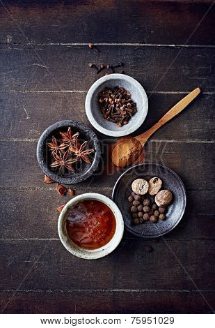 Aromatic spices and honey for Christmas cake