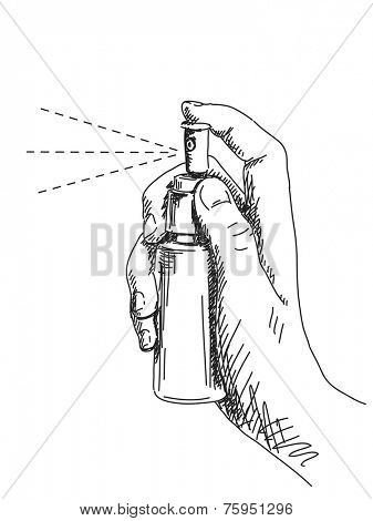 Sketch of hand and spray, Hand drawn illustration