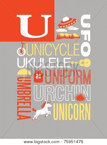 Letter U words typography illustration alphabet poster design