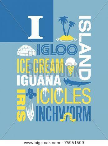 Letter I words typography illustration alphabet poster design
