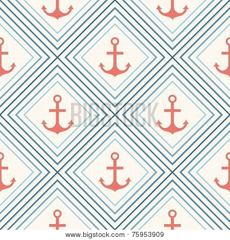 Seamless vector pattern of anchor shape and line