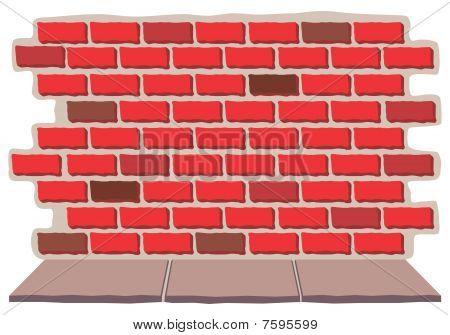 Old Brick Wall with Sidewalk