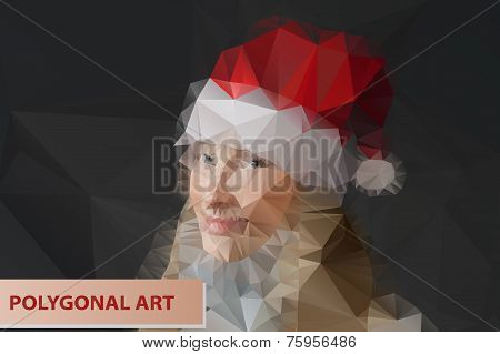 Girl in Santa hat. Abstract polygonal face. Triangles portrait for your design