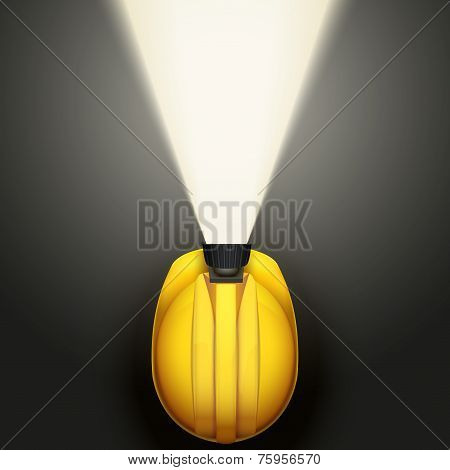 Background of Classic vintage miners helmet with lamp. Top view.