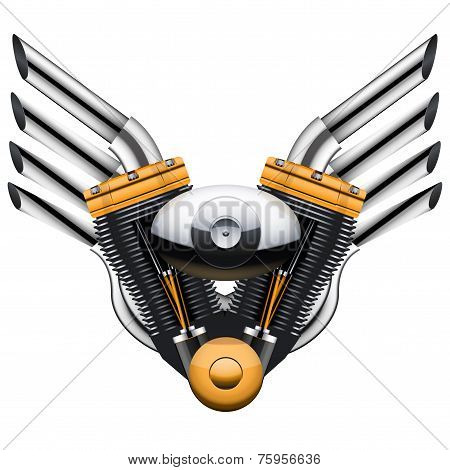 Motorcycle engine with metal wings.