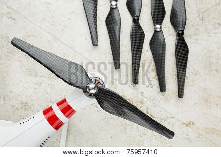carbon fiber propellers with a quadcopter drone arm