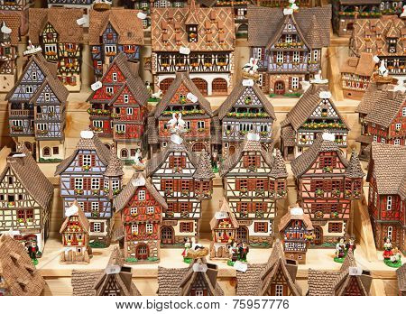 STRASBOURG - DECEMBER 23: Traditional Alsace houses on the Christmas market in Strasbourg on December 23, 2013 in Strasbourg, France. December market is famous tourist attraction of the city.