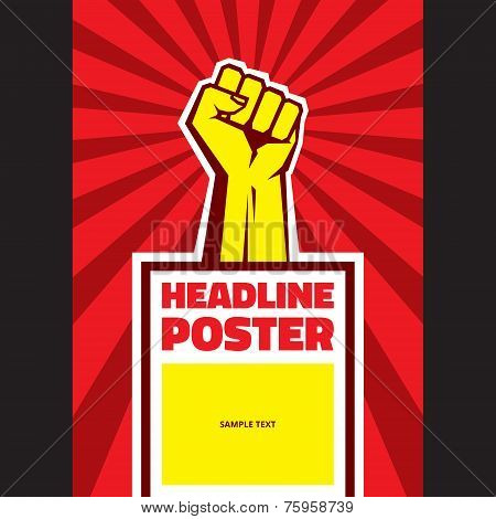 Hand Up Proletarian Revolution - Vector Illustration Concept in Soviet Union Agitation Style. Fist o