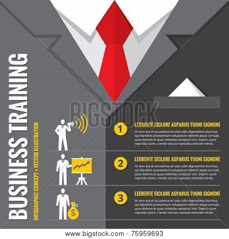 Business training - infographic vector illustration. Business man - infographic vector concept. Offi