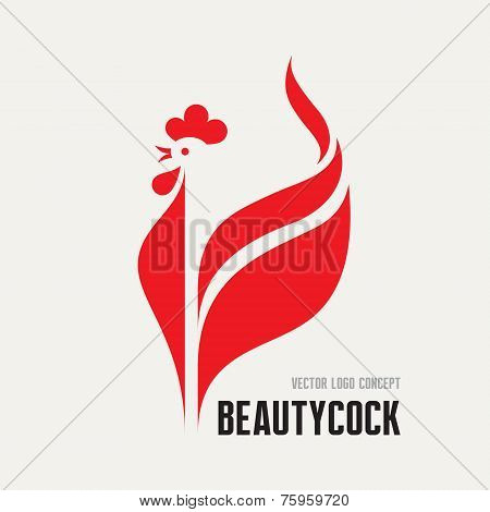 Beauty cock - rooster vector logo concept. Bird cock minimal illustration. Vector logo template. Coc