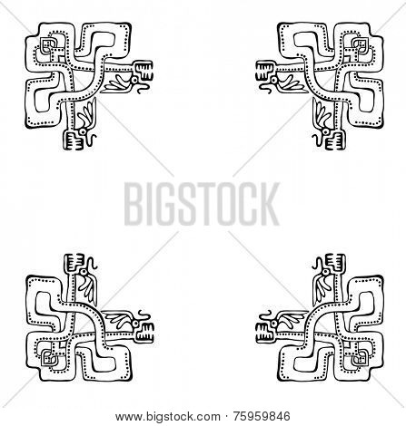 Black corners elements with dragons or snakes, vector illustration