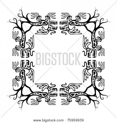 Black corners elements with dragons, vector illustration