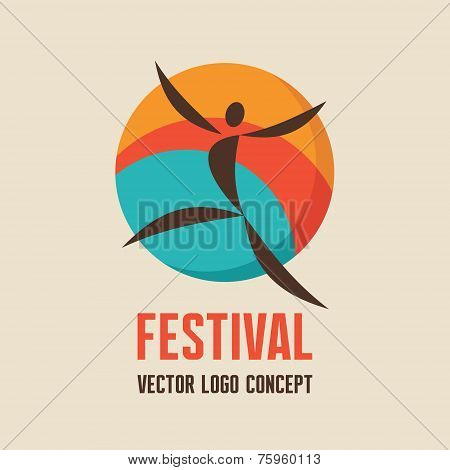 Festival - vector logo concept illustration. People character logo sign. Abstract man illustration.