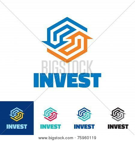 Invest - business logo concept illustration. Arrows recycled logo concept. Abstract business logo. A