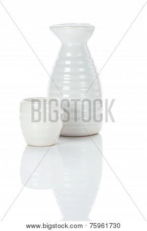 White Jug And Shot Of Sake
