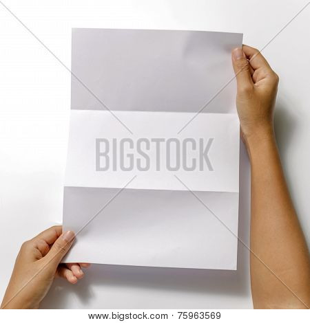 Woman Two Hands Holding Paper