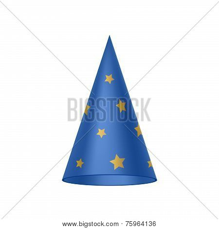Blue sorcerer hat with golden stars