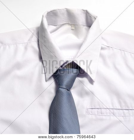 White Shirt With Blue Tie