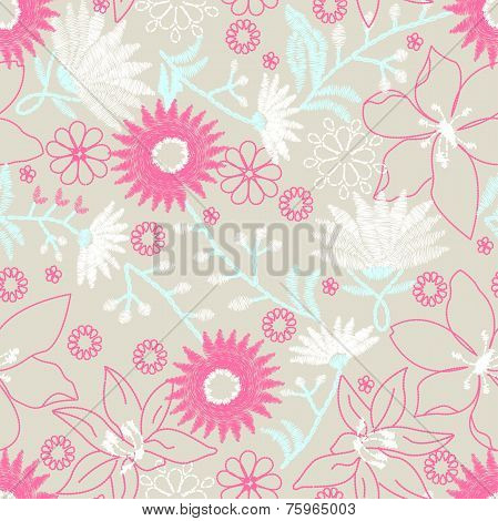 Floral Embroidery Design In A Seamless Pattern