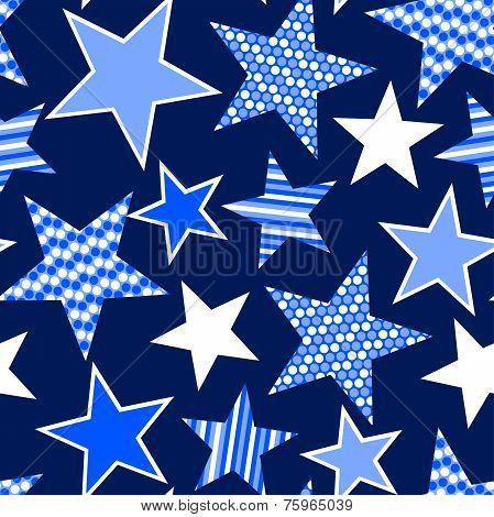 Blue Stars And Stripes Seamless Pattern