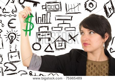 young beautiful woman drawing money symbol with marker
