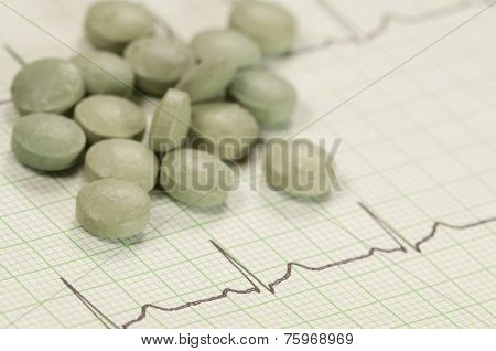 Tablets On Electrocardiogram Paper