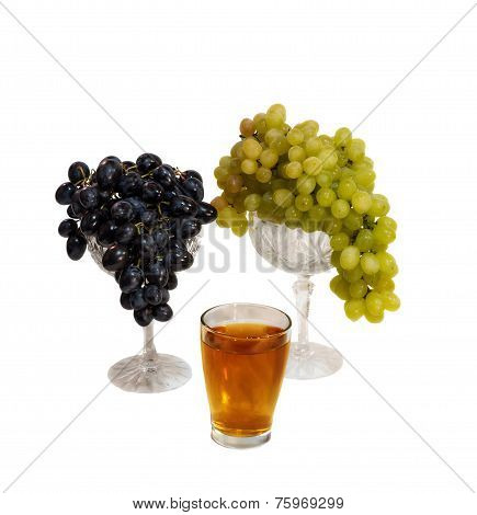 Grapes And Grape Juice Isolated On White