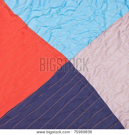 Square From Triangles In Stitched Patchwork Quilt