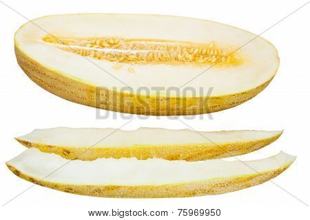 Two Slices And Uzbek-russian Melon Isolated
