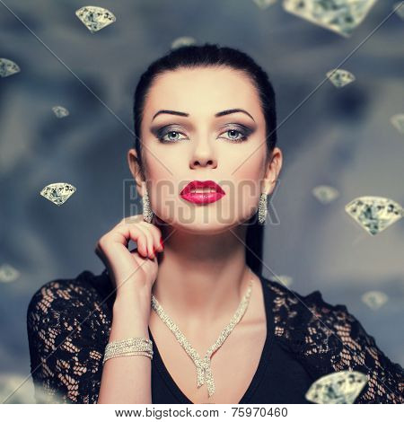 Woman With Necklace And Bracelet And Earrings Vintage Style